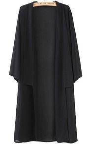 Black Long Sleeve Loose Maxi Kimono US$23.33