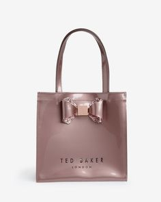 Small crystal bow trim shopper bag - Pink | Bags | Ted Baker