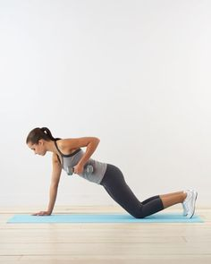 Plank row: for arms and core Take it to the next level: Rather than dropping your knees, remain in classic plank position.