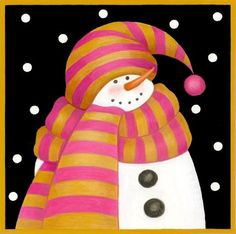 Snowman scarf: pink and gold [pinner's title] -- by Stephanie Stouffer