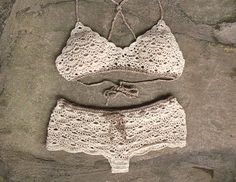 Crochet bralette and crochet shorts in cream Bridal by MarryG
