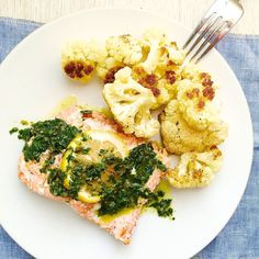 Roasted Salmon and Cauliflower with Parsley-Caper Sauce- use organic, check ingredients on capers