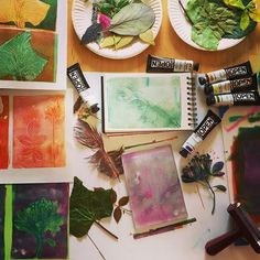 Oooo how fun to be playing & printing botanicals with my gelli plates this afternoon!