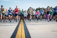 Runners start the 5K on the Runway at Tampa International Airport. | This race delivered on all fronts. Great location, organized, free parking, fast course, fuel before and after the race. #TPA5K #5K #AirportRunwayRace #TIA