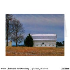 White Christmas Barn Greeting / Note Cards.