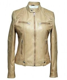 Product Name: WOMEN'S BEIGE SHEEP LEATHER BIKER JACKET Reference Number: BKW-285223 Style/Design: Biker Jacket Color: Beige Material: Sheep  Elegant women's leather biker jacket made from the premier quality Sheep leather. Trendy snap button collar with zip up front closure, two side and chest zipper pockets. Wax and drum finish, enhancing the color and feel of the jacket. Price:US $220 www.culacci.com