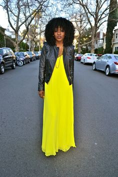 2013 Dress Styles | Leather Moto Jacket + Pleated Neon Maxi Dress