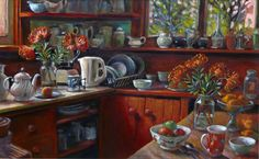 Margaret Olley | Proteas in the Kitchen 2000oil on hardboard, 61 x 91 cm