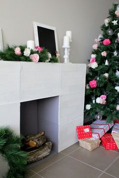 • 12 Days of Christmas: Day 2 - DIY Faux Fireplace • #christmas #christmastree…