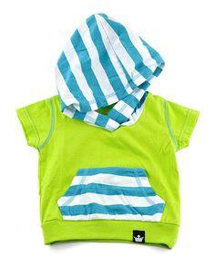 Green & Blue Stripe Hoodie - Infant, Toddler & Boys