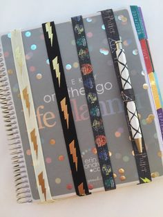 HP Bands from RainbowsandPixieDust on Etsy.There is so much awesomeness in this picture. Which is your favorite? The perfect accessory for your planner! These bands keep your Harry Potter Planner, Harry Potter Fandom, Organization Hacks, Organizing, Plum Paper, Erin Condren, Filofax, Happy Planner, Getting Organized