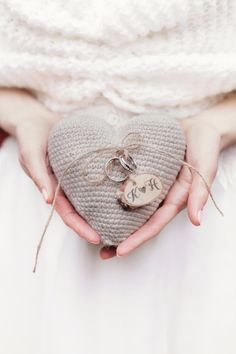 Wedding Ring Pillow with wooden tag 4lovepolkadots