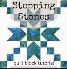 Sew Fresh Quilts: Stepping Stones Quilt Block Tutorial by Lorna...Today I am sharing a tutorial for the Stepping Stones quilt block designed in EQ7...First, the piecing of the diagonal seams went quickly using a piece of masking tape as a guide. This tape shows the center line and there was no need to draw a line on the pieces.  So simple and such a time saver!