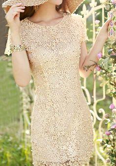 Pearls Crochet Dress. I'm thinking Easter dress:) @LookBookStore