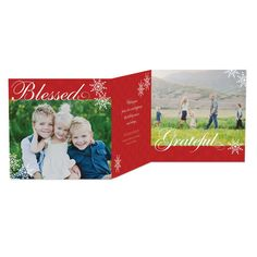 Divine Blessing - Tri-Fold #Holiday Cards in bright Tomato Red. #Christmas