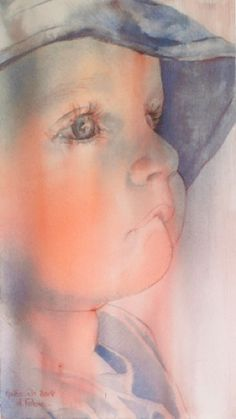 Daniele Fabre, watercolor painting, art, close up of toddler biting lip Watercolor Portraits, Watercolor Paintings, Watercolours, Painting People, Face Art, Beautiful Paintings, Painting Inspiration, Painting & Drawing, Baby Painting