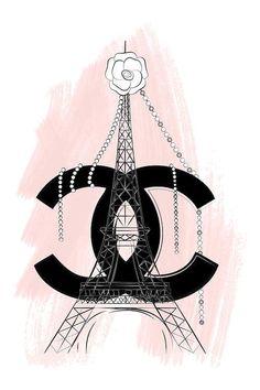 fashion wallpaper Chanel Paris Art Print by Martina Pavlova Art Chanel, Chanel Wall Art, Chanel Canvas, Chanel Decor, Chanel Paris, Chanel Logo, Chanel Cake, Paris Kunst, Paris Art