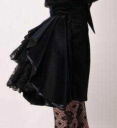 Black Cotton Velvet High Waist Steam Punk Victorian Mini Skirt