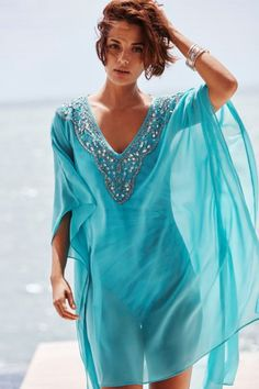 Embellished Caftan Swim Cover Up Add a hint of glamour to your poolside style with this embellished swim cover up. Luxe beaded detail immediately catches your eye, while the floaty caftan silhouette flatters like crazy. Modest Fashion, Boho Fashion, Womens Fashion, Fashion Spring, Kleidung Design, Summer Outfits, Casual Outfits, Summer Clothes, Beach Outfits