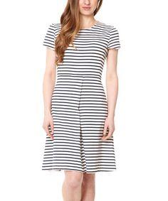 Loving this Navy & Cream Stripe Sienna Dress on #zulily! #zulilyfinds