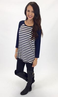 Show details for Dugout Baseball tee. Adorable navy and white lightweight baseball tee!