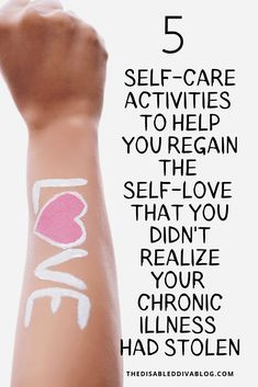 Regain the self-love that your chronic illness stole with these five self-care activities and journal prompts! Chronic Fatigue Syndrome, Chronic Illness, Chronic Pain, Psoriasis Arthritis, Rheumatoid Arthritis, Self Care Activities, Indoor Activities, Summer Activities, Family Activities