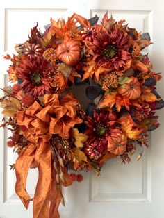 Fall Wreath, Mesh Wreath, Welcome Wreath, Autumn Wreath by WilliamsFloral on Etsy