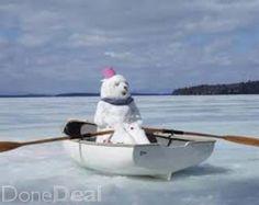 Snowman in a boat I Love Snow, I Love Winter, Winter Fun, Winter Snow, Frosty The Snowmen, Cute Snowman, Prior Lake, Snow Sculptures, Snow Art