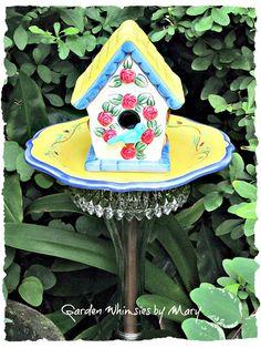 Rose Bird House Garden Totem Stake - As Featured in Flea Market Gardens Magazine