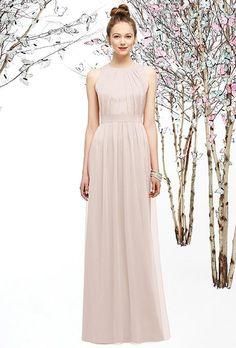 A blush pink crinkle chiffon bridesmaid dress | @lelarosestudio | Brides.com