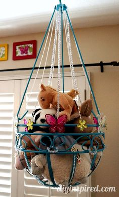 Best of DIY Inspired 2013- repurposed plant hanger turned stuffed animal storage