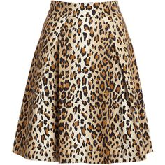 Carolina Herrera Cheetah-Print Stretch-Cotton Party Skirt ($950) ❤ liked on Polyvore featuring skirts, carolina herrera, cotton stretch skirt, brown skirt, a line skirt and straight skirt
