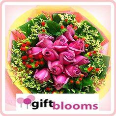 Purple Pasionate  Hand Bouquet of Purple Roses.