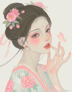 Girly Drawings, Cool Art Drawings, Anime Angel Girl, Anime Art Girl, Easy Drawing Images, Cartoon Pencil Sketches, Geisha Art, Anime Art Fantasy, Cute Couple Art