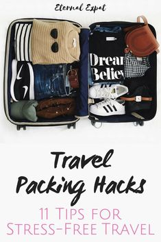 Travel packing hacks that are sure to make your next trip much less stressful. Use some of these packing tips to help you pack for your next vacation packing tips Travel Packing Hacks: My Top 11 Tips for Stress-Free Packing Packing Tips For Vacation, Packing Checklist, Vacation Trips, Travel Tips, Packing Hacks, Vacation Travel, Travel Hacks, Travel Goals, Vacation Checklist