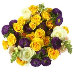 Mixed Flowers in Yellow and Purple - Bulk  Flowers... Perfect for floral projects!