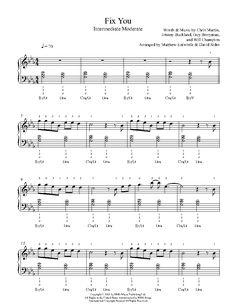 Fix You by Coldplay Piano Sheet Music | Intermediate Level