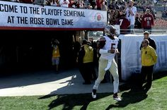 Quarterback Jameis Winston #5 of the Florida State Seminoles jogs onto the field prior to the College Football Playoff Semifinal at the Rose Bowl Game presented by Northwestern Mutual at the Rose Bowl on January 1, 2015 in Pasadena, California. (Dec. 31, 2014 - Source: Harry How/Getty Images North America)