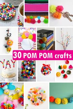 A roundup of POM POM CRAFTS, including home decor, party decorations, jewelry, a. Crafts For Teens To Make, Easter Crafts For Kids, Craft Activities For Kids, Summer Crafts, Diy Crafts To Sell, Sell Diy, Kids Diy, Toddler Crafts, Craft Stick Crafts