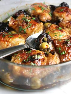 Mediterranean chicken thighs with prunes, olives and capers. I added a few other ingredients - black olives, artichokes, lemon juice and red wine. I also used maple syrup instead of brown sugar and boneless, skinless thighs and reduced cooking time. Best Chicken Dishes, Chicken Recipes, Cookbook Recipes, Cooking Recipes, Cooking Time, Low Carb Brasil, Main Course Dishes, Main Dishes, Kitchens