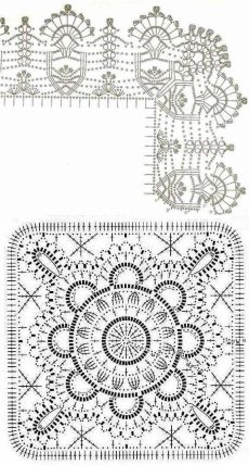 Crochet Table Runner Pattern, Crochet Motif Patterns, Granny Square Crochet Pattern, Crochet Borders, Crochet Mandala, Crochet Tablecloth, Crochet Diagram, Crochet Squares, Crochet Carpet