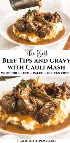 Savory tender beef sirloin tips drenched with brown gravy and served over cauliflower mash. This meal is not only delicious, but it is also Keto, and Paleo compliant. dinner ideas Beef Tips & Gravy over Cauliflower Mash Keto, Paleo) - Healthy Little Peach Sirloin Tips, Beef Sirloin, Paleo Recipes, Low Carb Recipes, Paleo Meals, Healthy Breakfasts, Steak Recipes, All Food Recipes, Cupcake Recipes
