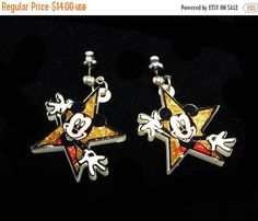 New Listings Daily - Follow Us for UpDates -  ❘❘❙❙❚❚ March Madness SALE ❚❚❙❙❘❘     Description & Style:  Disney Mickey Mouse Earrings for Pierced Ears - Plastic Gold Glitter Stars - Dangling Star Earrings  - Stud Style... #vintage #jewelry #teamlove #etsyretwt #ecochic