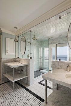 His and Her Bathroom nice layout for shower and view #marblebathrooms