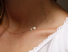Gold Initial Necklace Sideways Initial Necklace Two door MinimalVS, $46.00