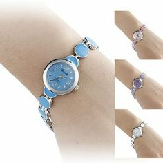 Tanboo Women's Circle Style Alloy Analog Quartz Bracelet Watch (Assorted Colors) by Tanboo. $8.99. Bracelet Watches. Fashionable Watches. Women's Watche. Gender:Women'sMovement:QuartzDisplay:AnalogStyle:Bracelet WatchesType:Fashionable WatchesBand Material:AlloyBand Color:Blue, White, Pink, PurpleCase Diameter Approx (cm):2Case Thickness Approx (cm):0.8Band Length Approx (cm):17.7Band Width Approx (cm):0.6