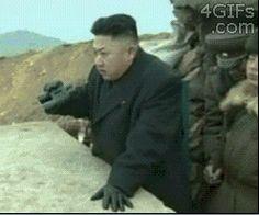 North Korea looks across the border