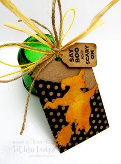 Bats & Broomsticks Dies and Stamps, Folding Tag Die Original by Karen Baker of The Bald Dragonfly
