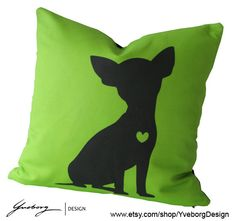 Chihuahua Pillow - Contemporary Dog Pillow Case - Green Dog Pillow on Etsy, $39.00