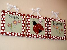 Sweet Dreams LadyBug Paintings With HandStitched by BabySullysArt, $250.00